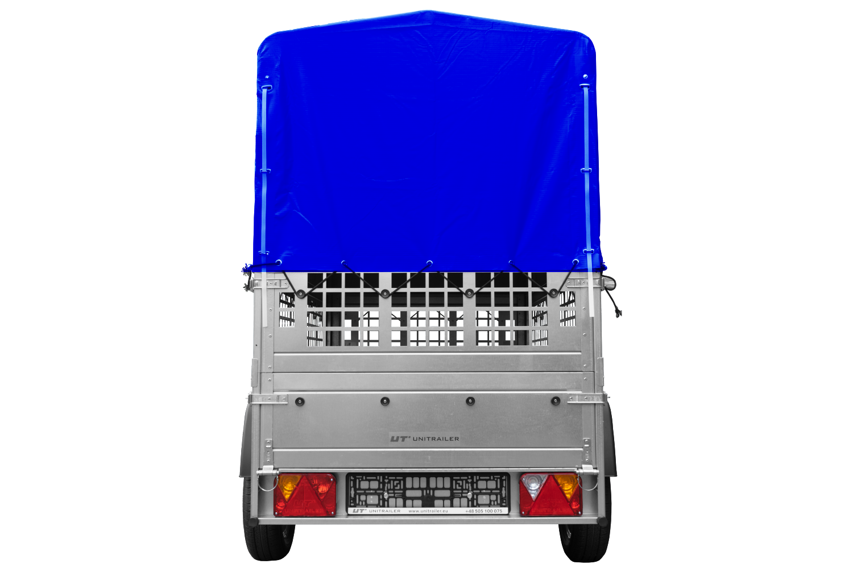 1-osiowa kiprowana przyczepka samochodowa z niebieską plandeką i stelażem